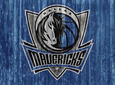 Mixed Media - Dallas Mavericks Barn Door by Dan Sproul