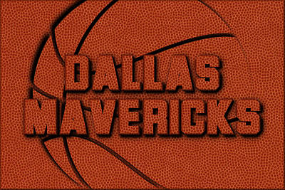 Dallas Mavericks Leather Art Art Print by Joe Hamilton