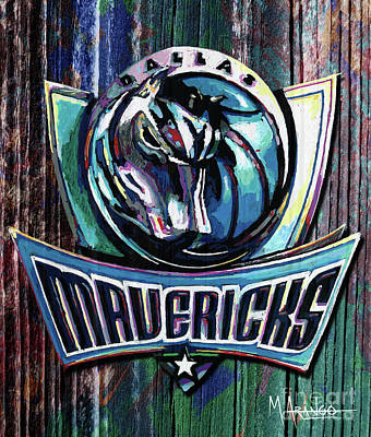Mixed Media - Dallas Mavericks by Maria Arango