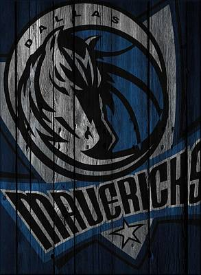 Dallas Mavericks Wood Fence Art Print