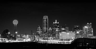 Photograph - Dallas Monochrome Skyline 020218 by Rospotte Photography