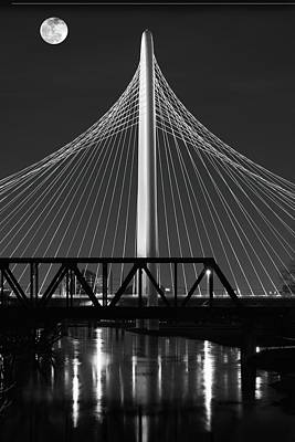 Photograph - Dallas Moon Crossing B W 022418 by Rospotte Photography