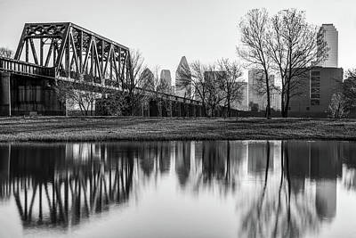 Photograph - Dallas Morning Skyline Reflections In Black And White by Gregory Ballos