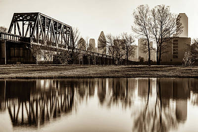 Photograph - Dallas Morning Skyline Reflections In Sepia by Gregory Ballos