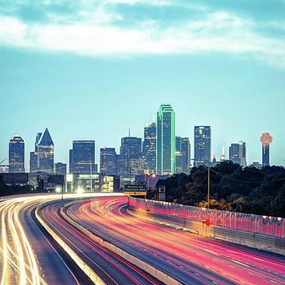 Photograph - Dallas Morning Skyline - Square 1x1 Format by Gregory Ballos