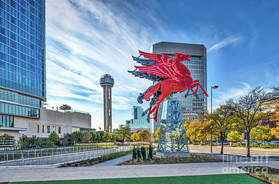 Landmarks Photograph - Dallas Neon Red Pegasus by Tod and Cynthia Grubbs