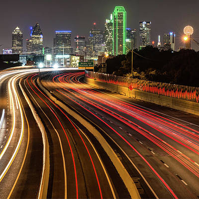 Photograph - Dallas Night Skyline And Light Trails - Square Format by Gregory Ballos