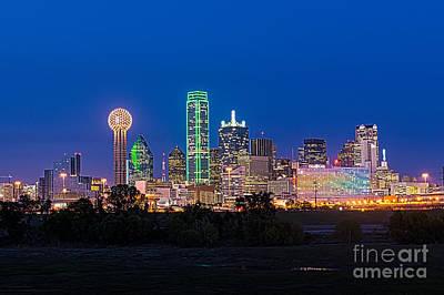 Dallas Cityscape Night  Art Print