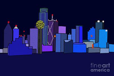 Dallas Skyline Digital Art - Dallas by Patrick Espinoza