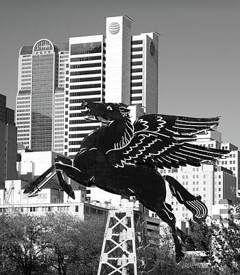 Photograph - Dallas Pegasus Monochrome 32318 by Rospotte Photography