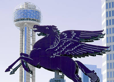 Photograph - Dallas Pegasus Reunion Tower Purple by Rospotte Photography