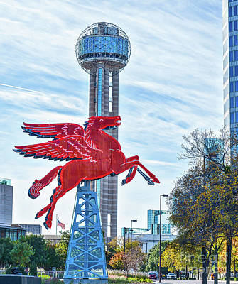 Neon Signs Photograph - Dallas Pegasus With Reunion Tower by Tod and Cynthia Grubbs