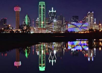 Building Photograph - Dallas Reflecting At Night by Frozen in Time Fine Art Photography