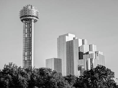 Photograph - Dallas Reunion Tower And Hyatt Regency - Black And White  by Gregory Ballos