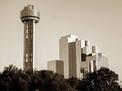 Photograph - Dallas Reunion Tower And Hyatt Regency - Sepia by Gregory Ballos