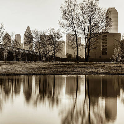 Photograph - Dallas Sepia Skyline Square Format Trinity Reflections by Gregory Ballos