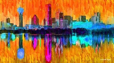 Fort Worth Painting - Dallas Skyline 2 - Pa by Leonardo Digenio