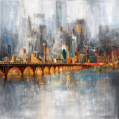 Painting - Dallas Skyline 217 1 by Mawra Tahreem