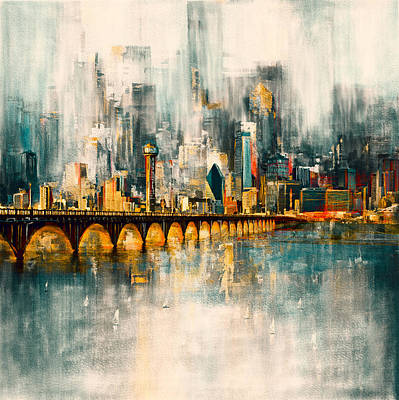 Painting - Dallas Skyline 217 3 by Mawra Tahreem