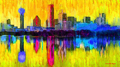 Skies Digital Art - Dallas Skyline 3 - Da by Leonardo Digenio