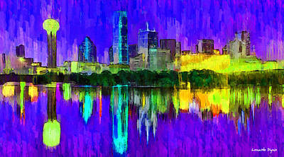 Dallas Skyline 4 - Da Art Print by Leonardo Digenio