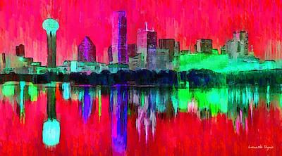 Dallas Skyline Digital Art - Dallas Skyline 6 - Da by Leonardo Digenio
