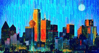 Dallas Skyline Digital Art - Dallas Skyline 60 - Da by Leonardo Digenio
