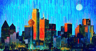 Tower Painting - Dallas Skyline 60 - Pa by Leonardo Digenio