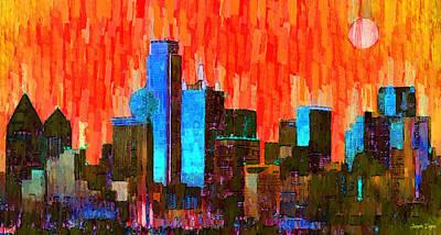 Arlington Painting - Dallas Skyline 61 - Pa by Leonardo Digenio