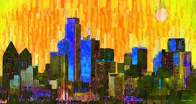 United States Digital Art - Dallas Skyline 62 - Da by Leonardo Digenio