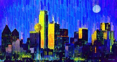 Metropolitan Digital Art - Dallas Skyline 63 - Da by Leonardo Digenio