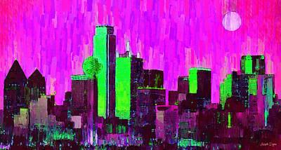 John Digital Art - Dallas Skyline 64 - Da by Leonardo Digenio