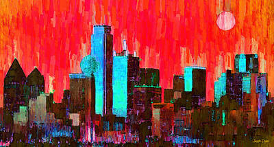 Dallas Skyline Digital Art - Dallas Skyline 65 - Da by Leonardo Digenio