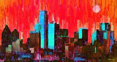 John Painting - Dallas Skyline 65 - Pa by Leonardo Digenio