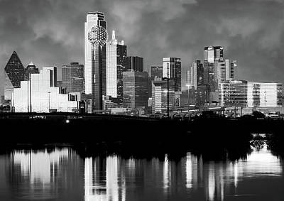 Dallas Photograph - Dallas Skyline 6616 Bw by Rospotte Photography