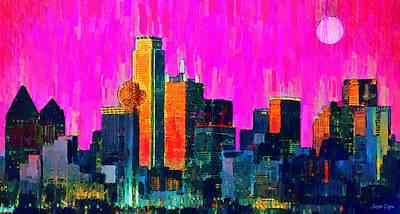 Dallas Texas Painting - Dallas Skyline 70 - Pa by Leonardo Digenio