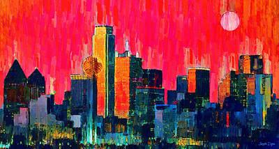 Town Painting - Dallas Skyline 71 - Pa by Leonardo Digenio