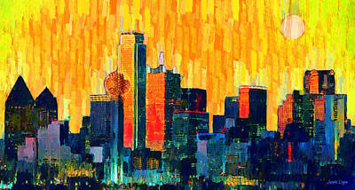 Shoot Painting - Dallas Skyline 72 - Pa by Leonardo Digenio