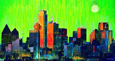 Dallas Skyline 73 - Pa Art Print by Leonardo Digenio
