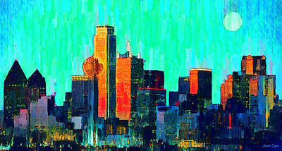 Shoot Painting - Dallas Skyline 74 - Pa by Leonardo Digenio