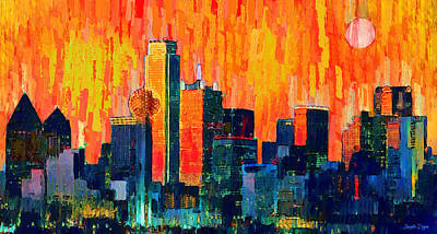 Dallas Skyline 75 - Da Art Print