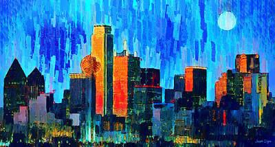 Fort Worth Painting - Dallas Skyline 76 - Pa by Leonardo Digenio