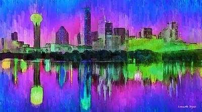 Evening Digital Art - Dallas Skyline 8 - Da by Leonardo Digenio