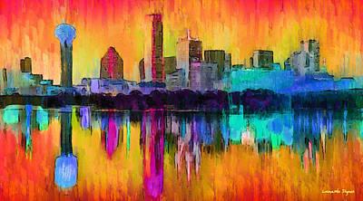 Dallas Texas Painting - Dallas Skyline 9 - Pa by Leonardo Digenio