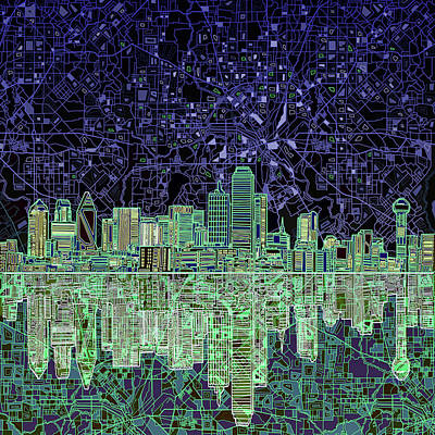 Vintage Map Painting - Dallas Skyline Abstract 4 by Bekim Art