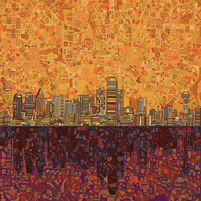 Dallas Skyline Painting - Dallas Skyline Abstract by Bekim Art