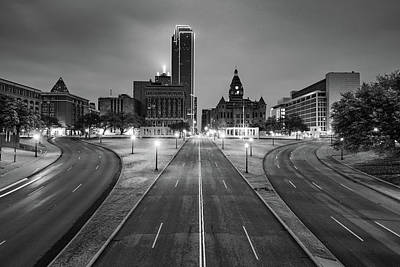 Photograph - Dallas Skyline And Dealey Plaza At Dawn - Black And White by Gregory Ballos