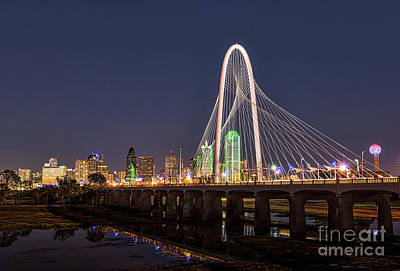 Dallas Skyline At Dark Art Print by Tod and Cynthia Grubbs