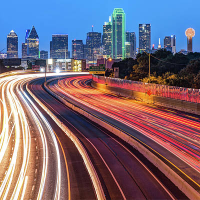 Photograph - Dallas Skyline At Dawn - Square Format by Gregory Ballos