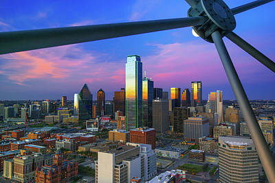 Photograph - Dallas Skyline At Dusk From Reunion Tower by Gregory Ballos